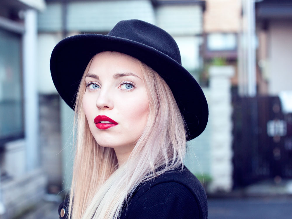 Red lipstick and hat, Tokyo, Japan