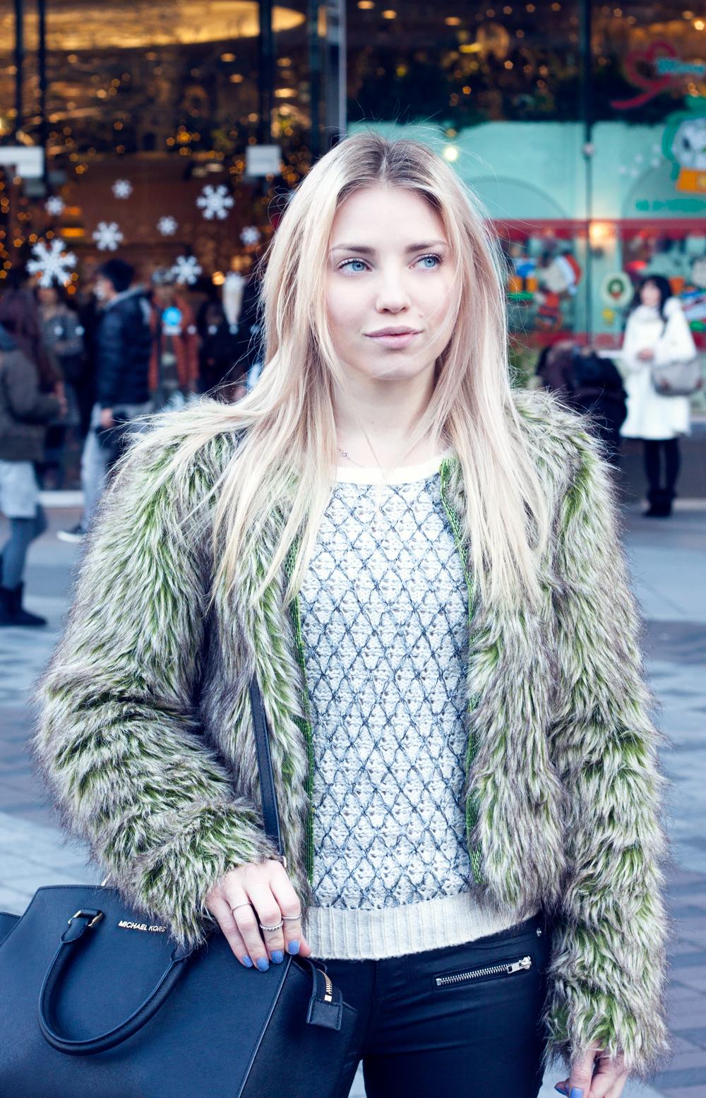 Green faux fur jacket, ginza, tokyo, japan, Michael Kors