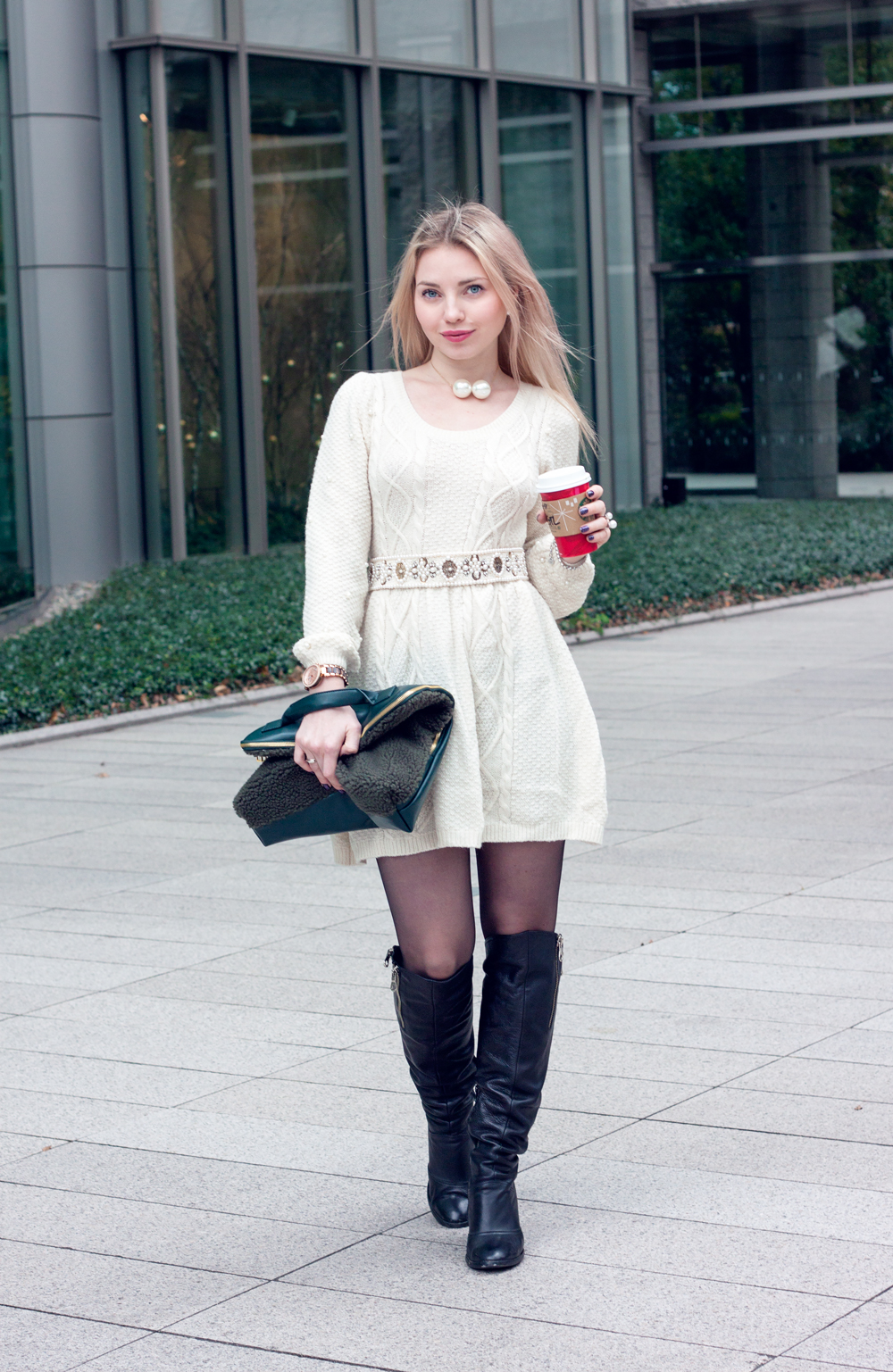 Knitted dress with pearls, starbucks matcha latte, pearl earrings, pearl necklace, knee high boots, pearls belt, fur clutch. Roppongi, Tokyo.