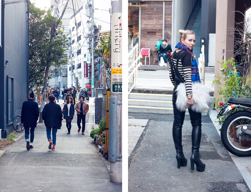 Leather dungarees, faux fur clutch, hair buns, stripes, omotesando, cat street, japan, tokyo