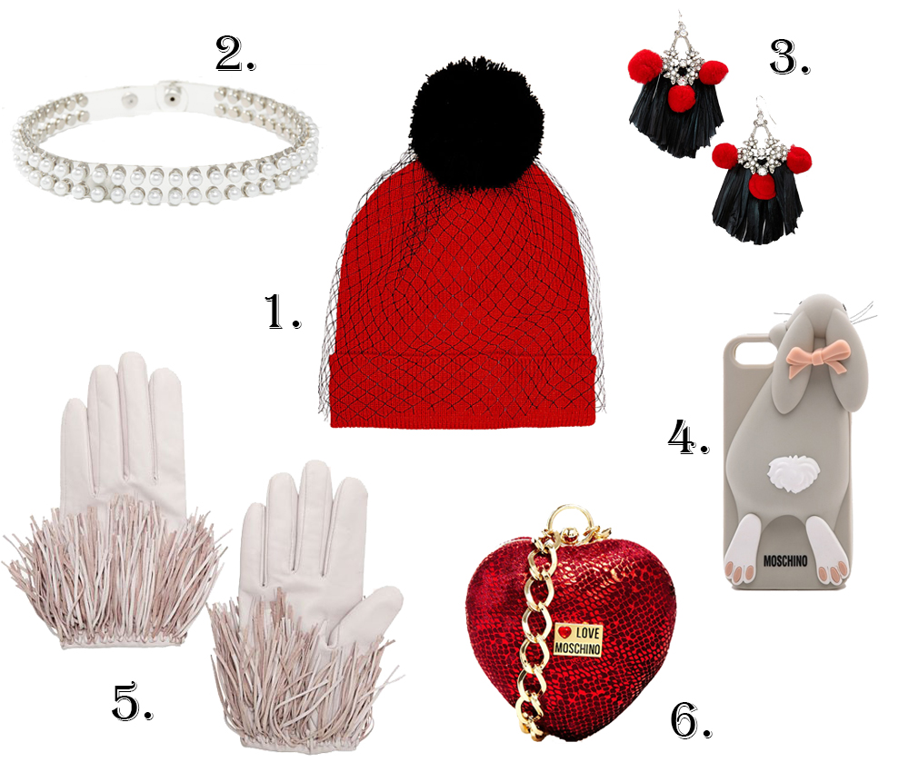 Moschino, Betsey Johnson, fringe leather gloves, pearl collar necklace, bunny iphone case