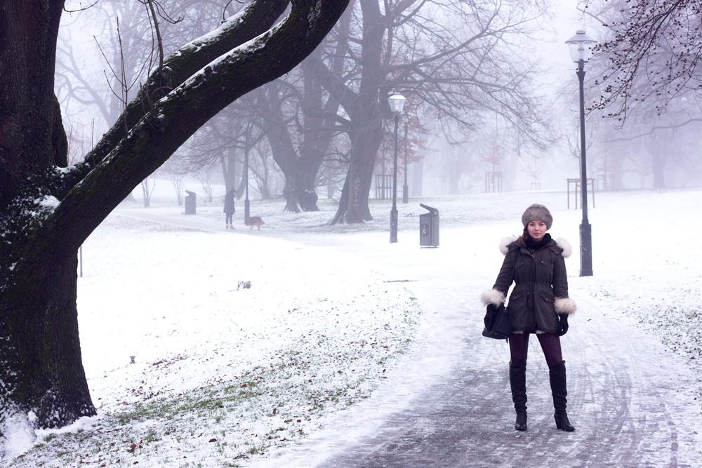 Snowy Gothenburg, Sweden. Fur, Michael Kors bag, Snowy.