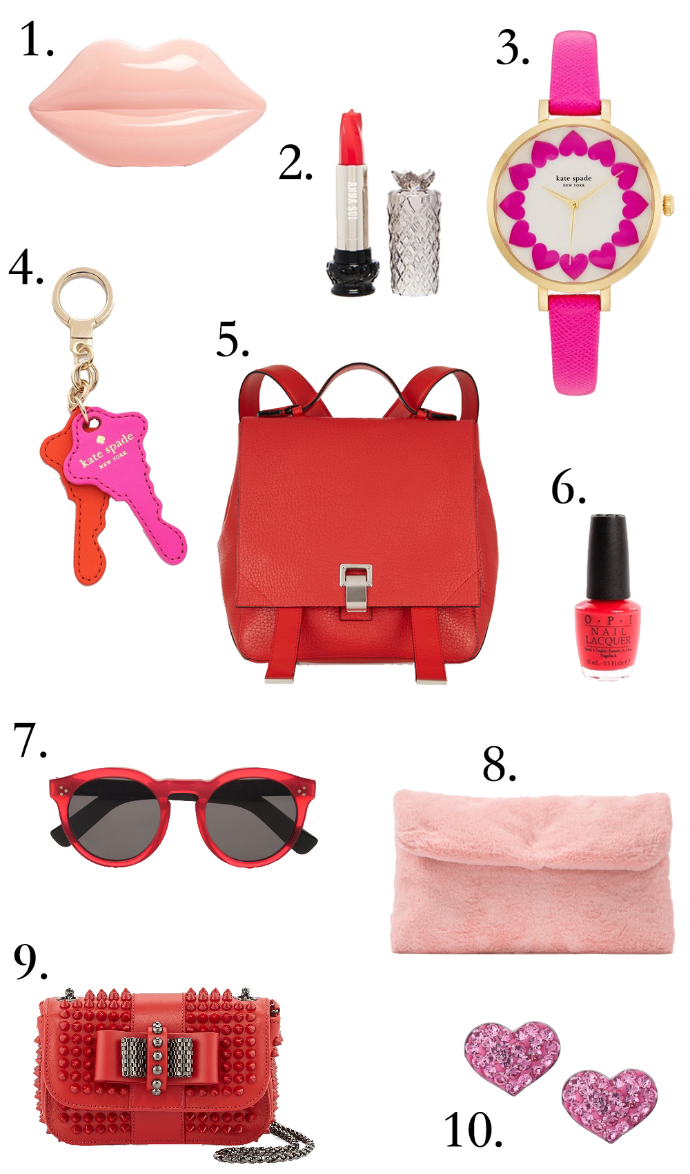 Valentine's day, red leather backpack, gift ideas, pink faux fur clutch, OPI red nail polish, Anna Sui makeup, kate spade, watches, hearts, lips, lip clutch, red sunglasses,