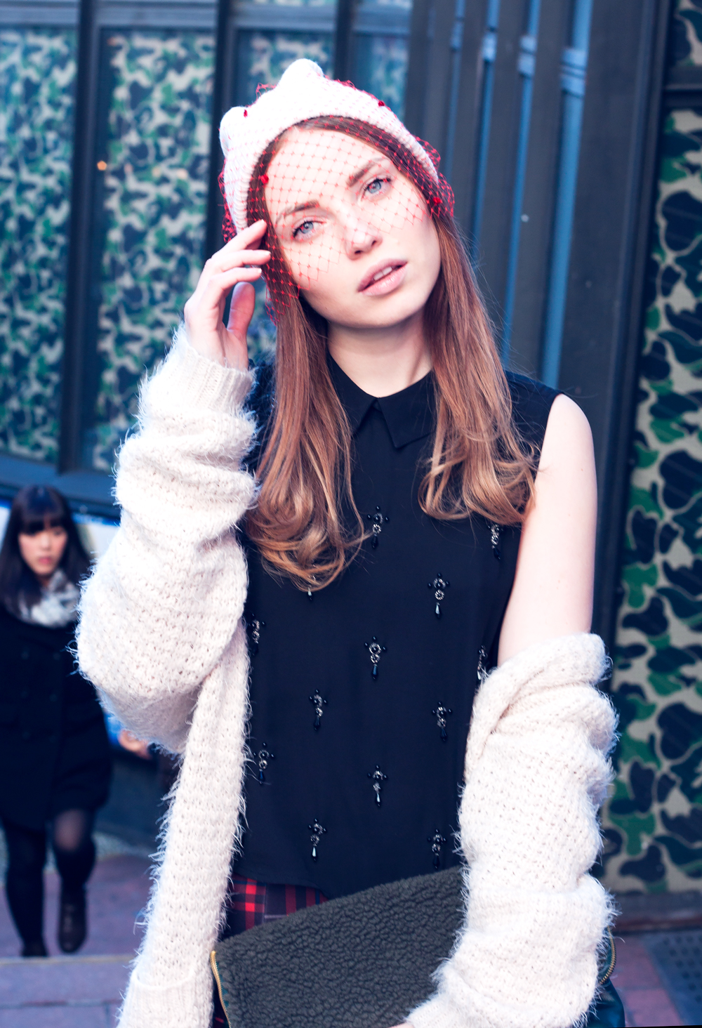 Shibuya, Tokyo, Veiled Beanie, Knits, Plaid mini skirt, faux fur clutch, knee high boots, knee stockings, beanie