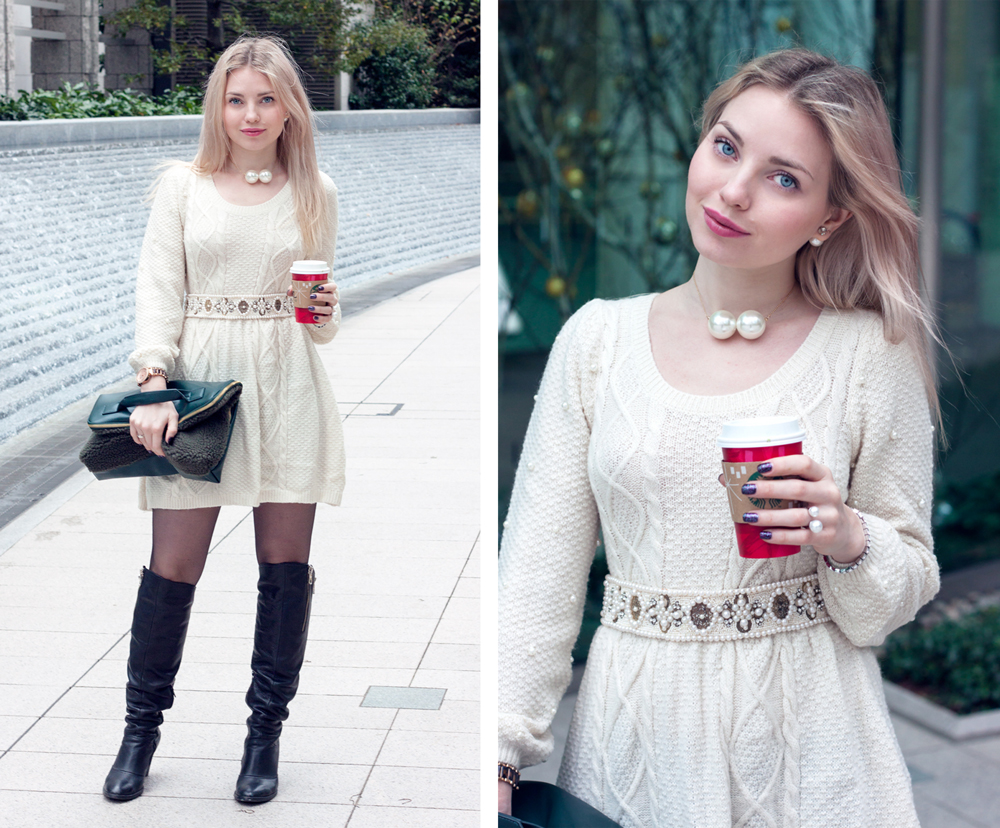 Roppongi, pearls, knitted dress, high knee boots, faux fur clutch,  starbucks