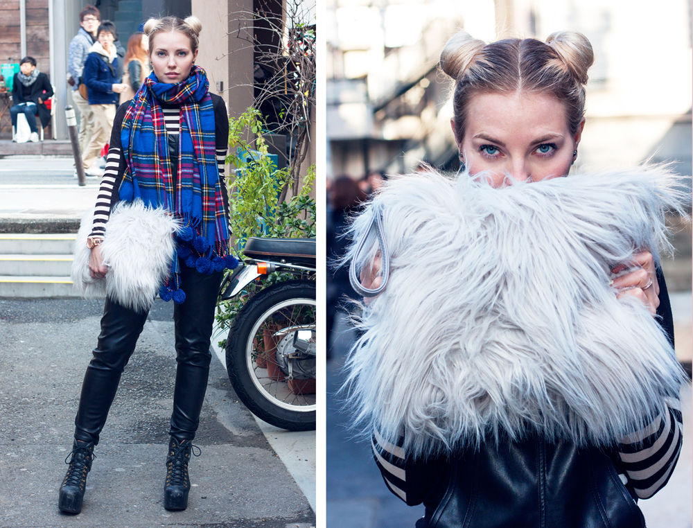 Cat street, tokyo, Japan, faux fur clutch, leather dungarees, plaid scarf, tokyo fashion
