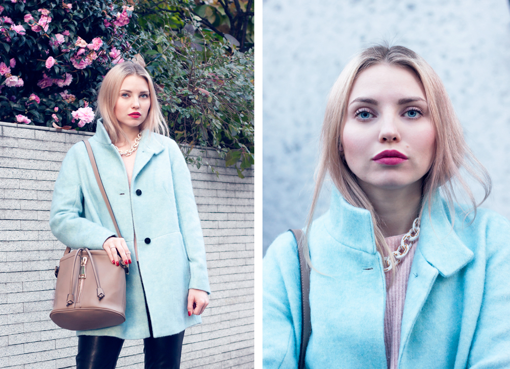 zara outfit, turquoise coat, leather pants, bucket bag, tokyo, japan, fall in japan, fall in tokyo