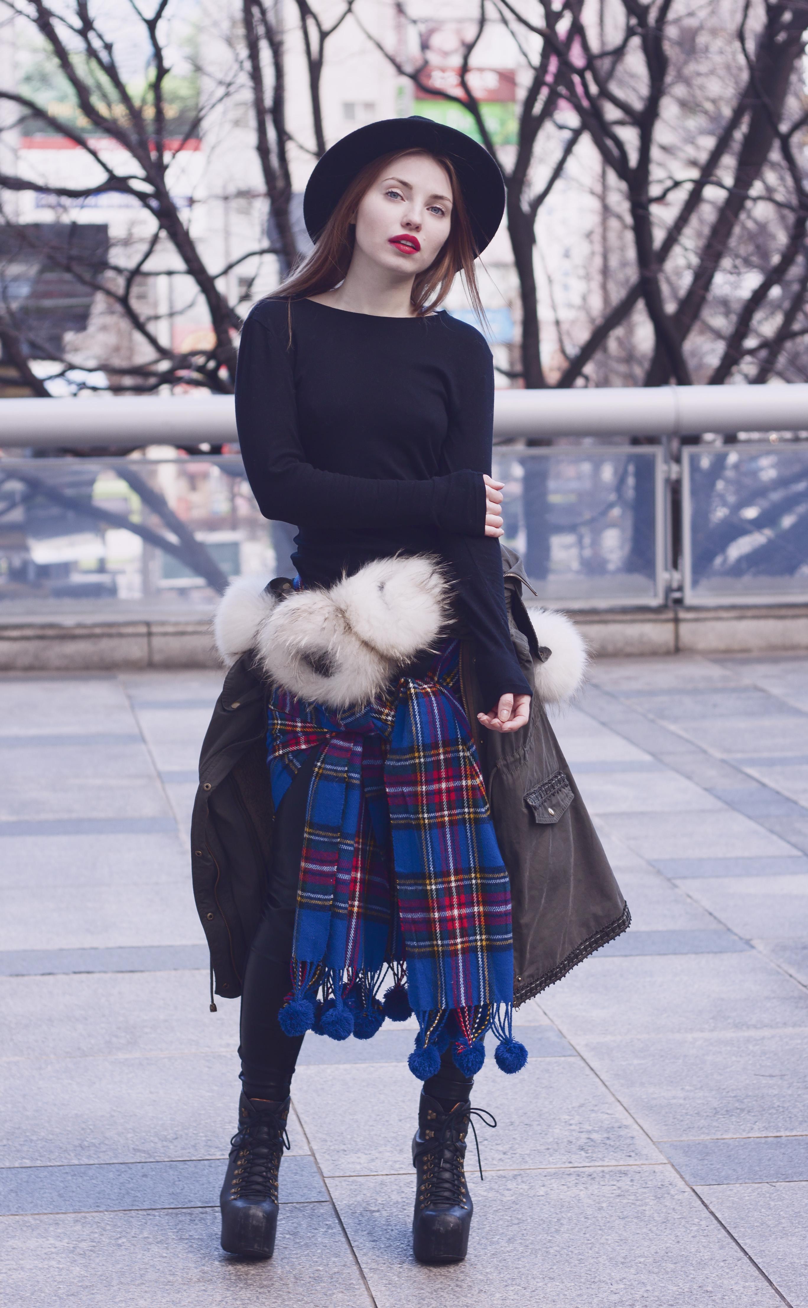 black fedora hat, plaid scarf, pompom, anorak, fur, tokyofashion, tokyo, japan,