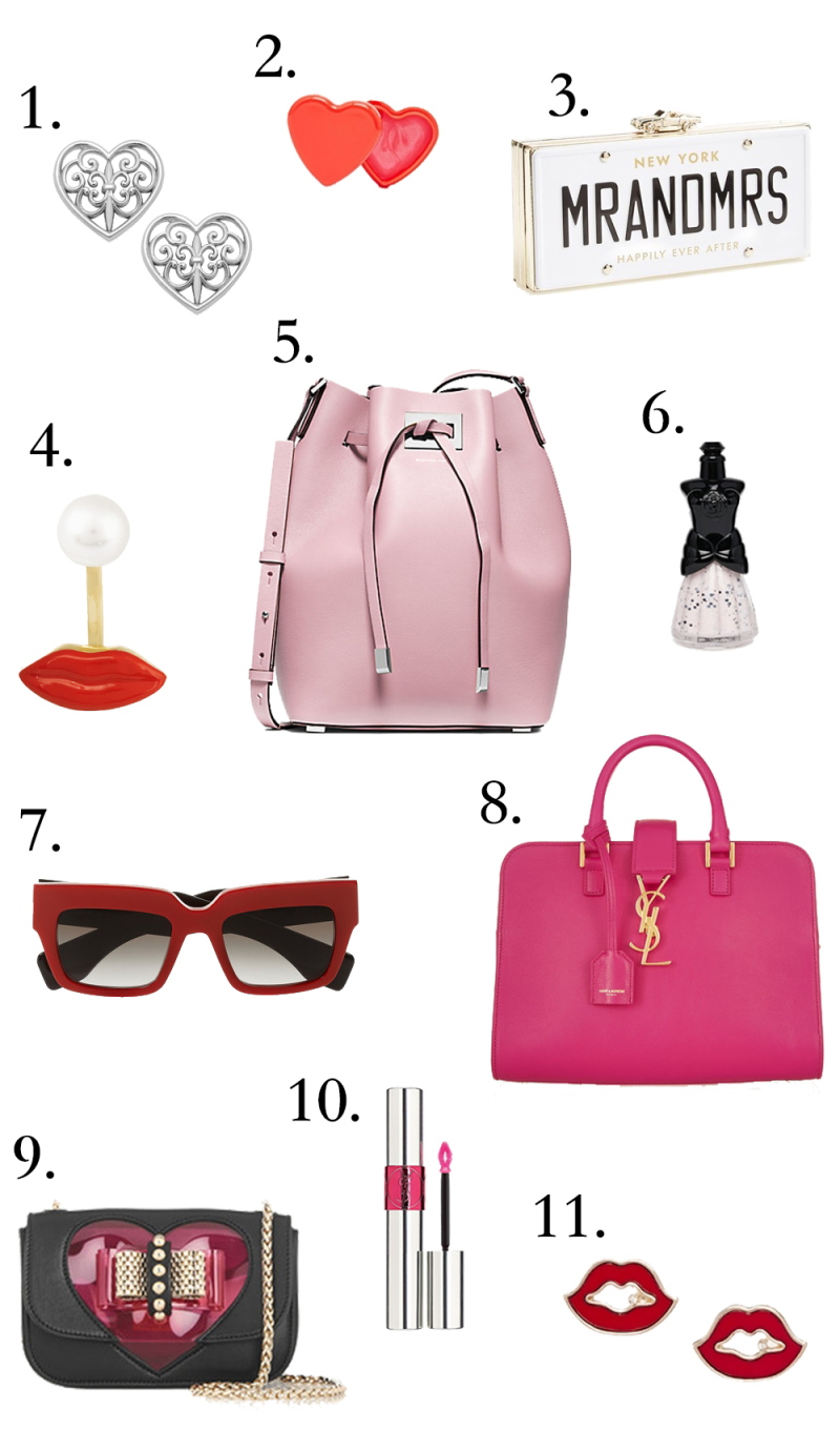 pink and red accessories, michale kors bucket bag, lips, nail polish, anna sui