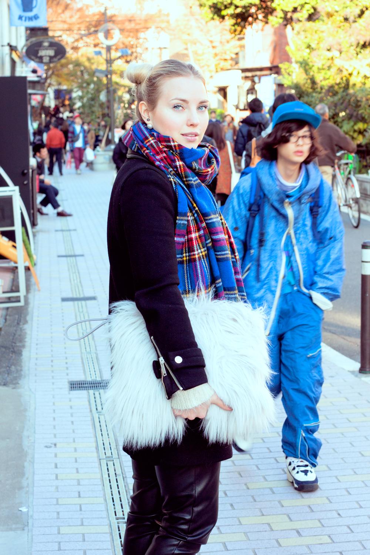 cat street, harajuku, tokyo, japan, omotesando, shibuya, tokyofashion, plaid scarf