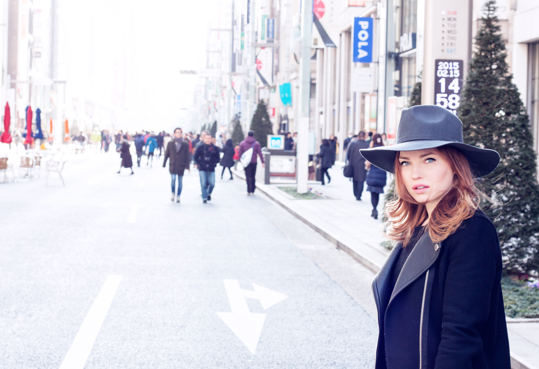 hat, fedora, ginza, chuo dori, japan, tokyofashion, knits, chain belt, vogue magazine