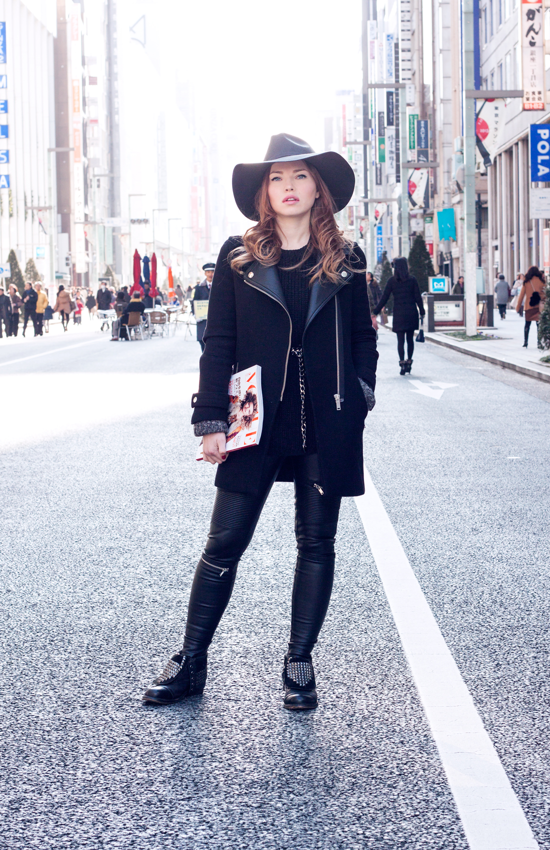 hat, fedora, studded boots,  ginza, chuo dori, japan, tokyofashion, knits, chain belt, vogue magazine