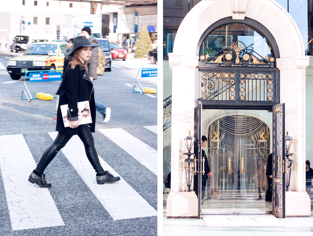hat, studded boots,  fedora, ginza, chuo dori, japan, tokyofashion, knits, chain belt, vogue magazine