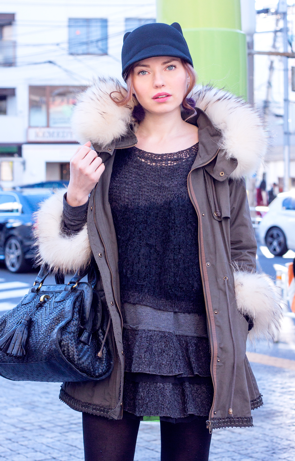 Daikanyama, tokyo, japan, tokyo fashion, cat hat anorak, fur, japanese brands, knits, vintage, knee high boots