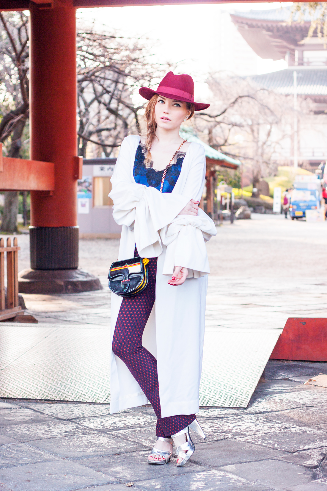 Calle Evans, American Fashion Designer, wool coat, fedora, japan, temple japanese, japanese culture, japanese history, tokyo, tokyo street style, ume blossom, zojo-ji temple