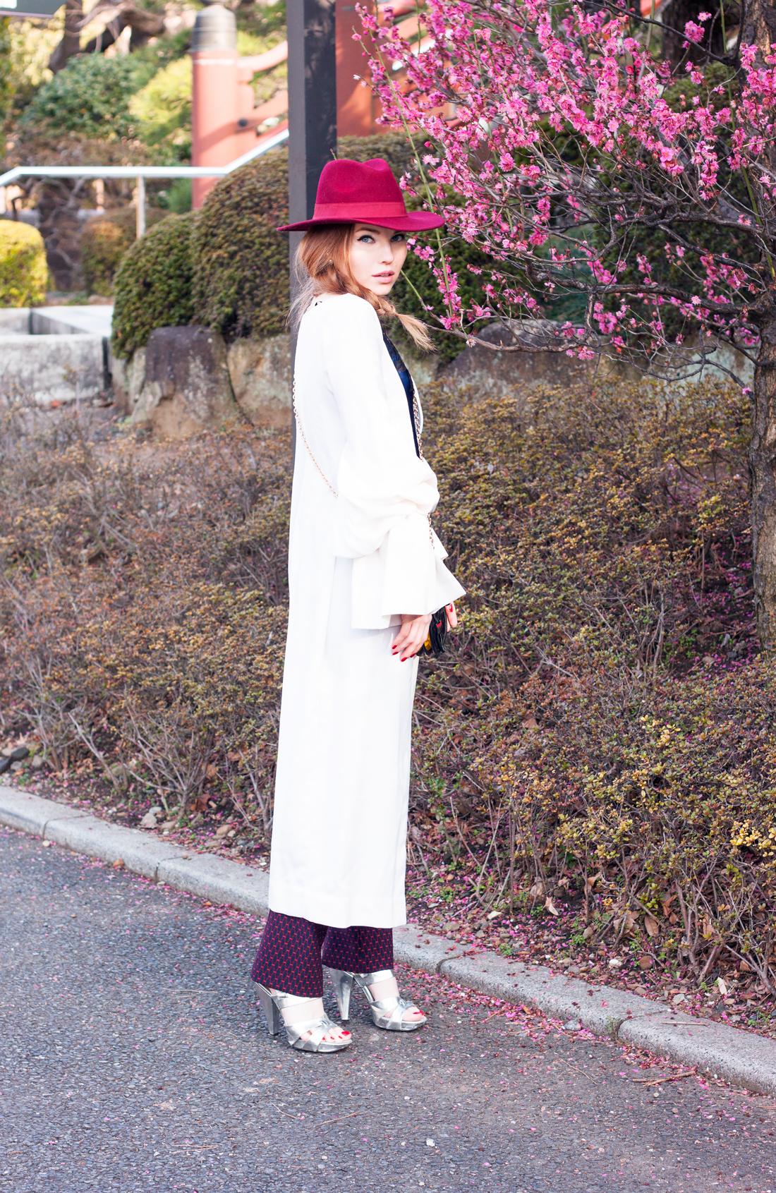 Calle Evans, American Fashion Designer, wool coat, fedora, japan, temple japanese, japanese culture, japanese history, tokyo, tokyo street style, ume blossom, zojo-ji temple