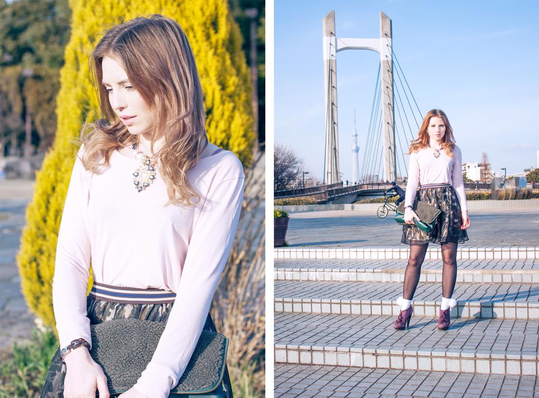 camouflage skirt, fur clutch, shinkiba park, tokyo, japan, japanese park, yellow bush