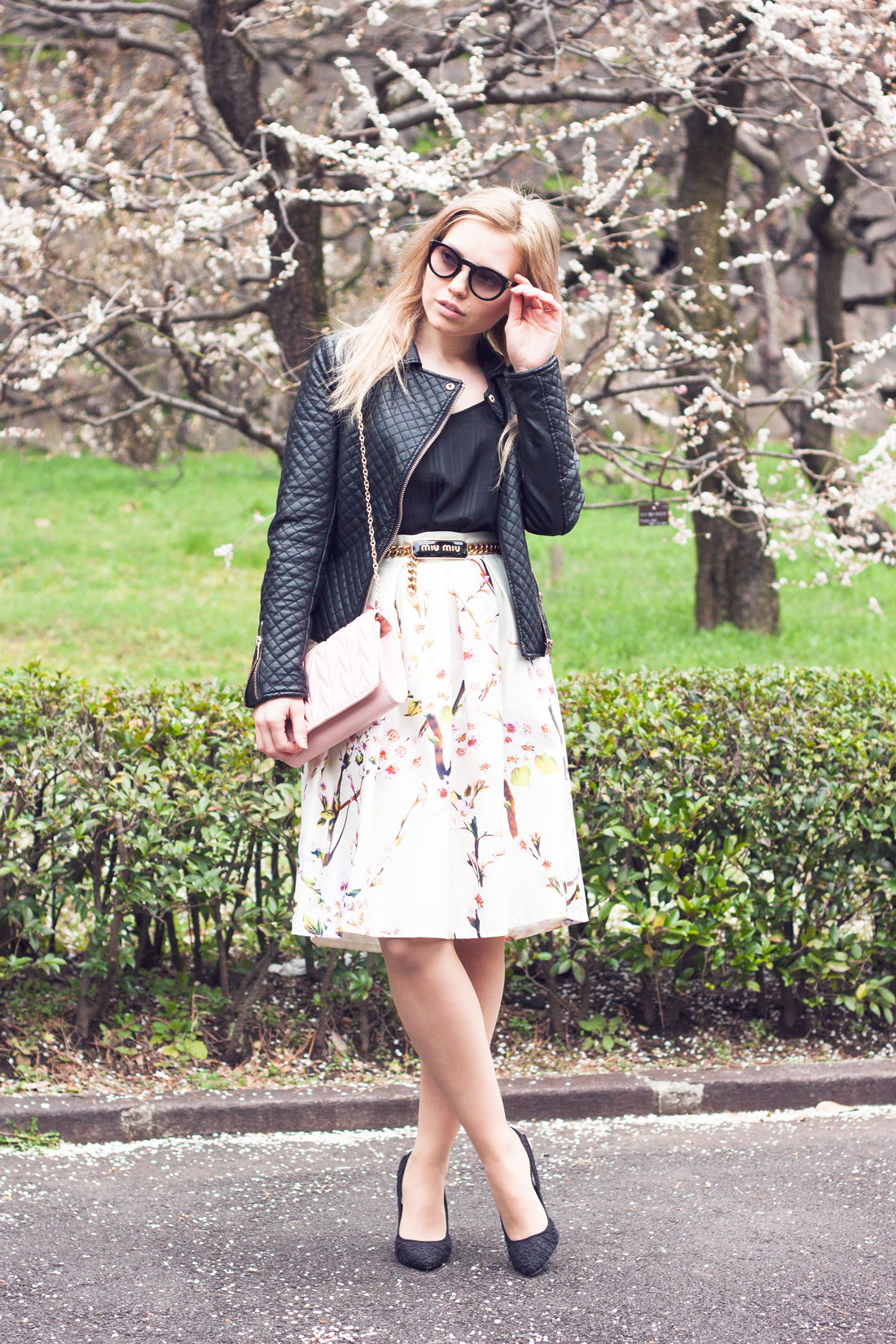 cherry blossom skirt, sakura, cherry blossoms, japan, tokyo spring, empire east gardens tokyo, leather jacket, quilted bag