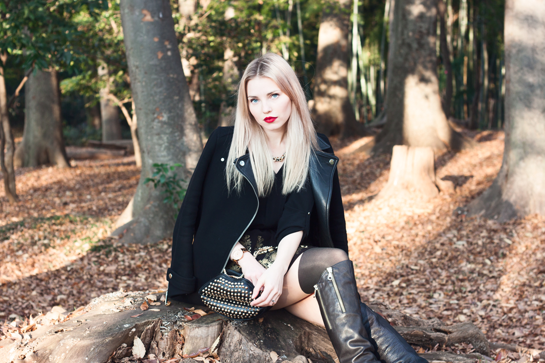 fall, autumn, fall in japan, autumn colors, fall colors, yoyogi park, lips handbag, gold, blonde, red lips