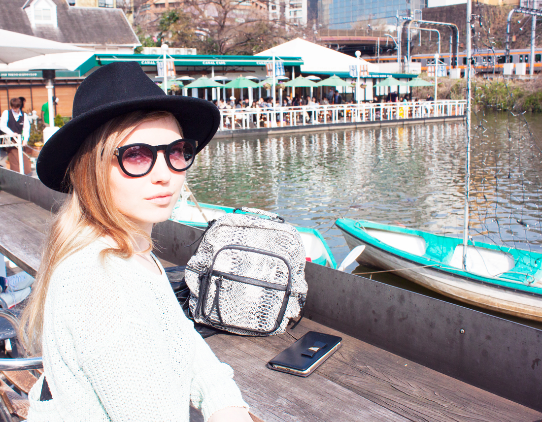 canal cafe tokyo, japan, japan cafe, sunny, fedora, sightseeing, spring in tokyo