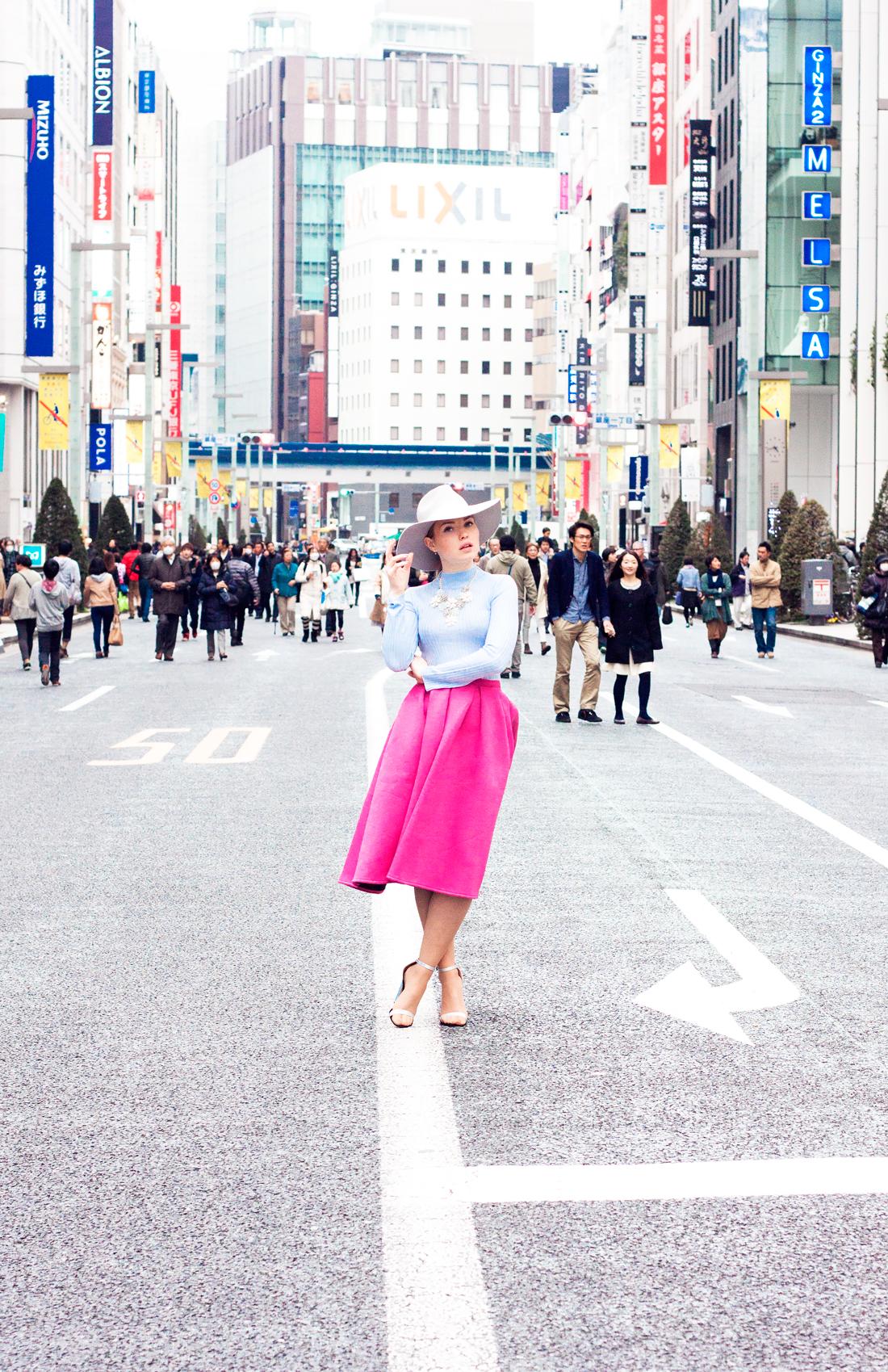 chuo-dori, ginza, tokyo, japan, cherryblossomstreet, fedora, stateent jewelry, pink skirt, baby blue