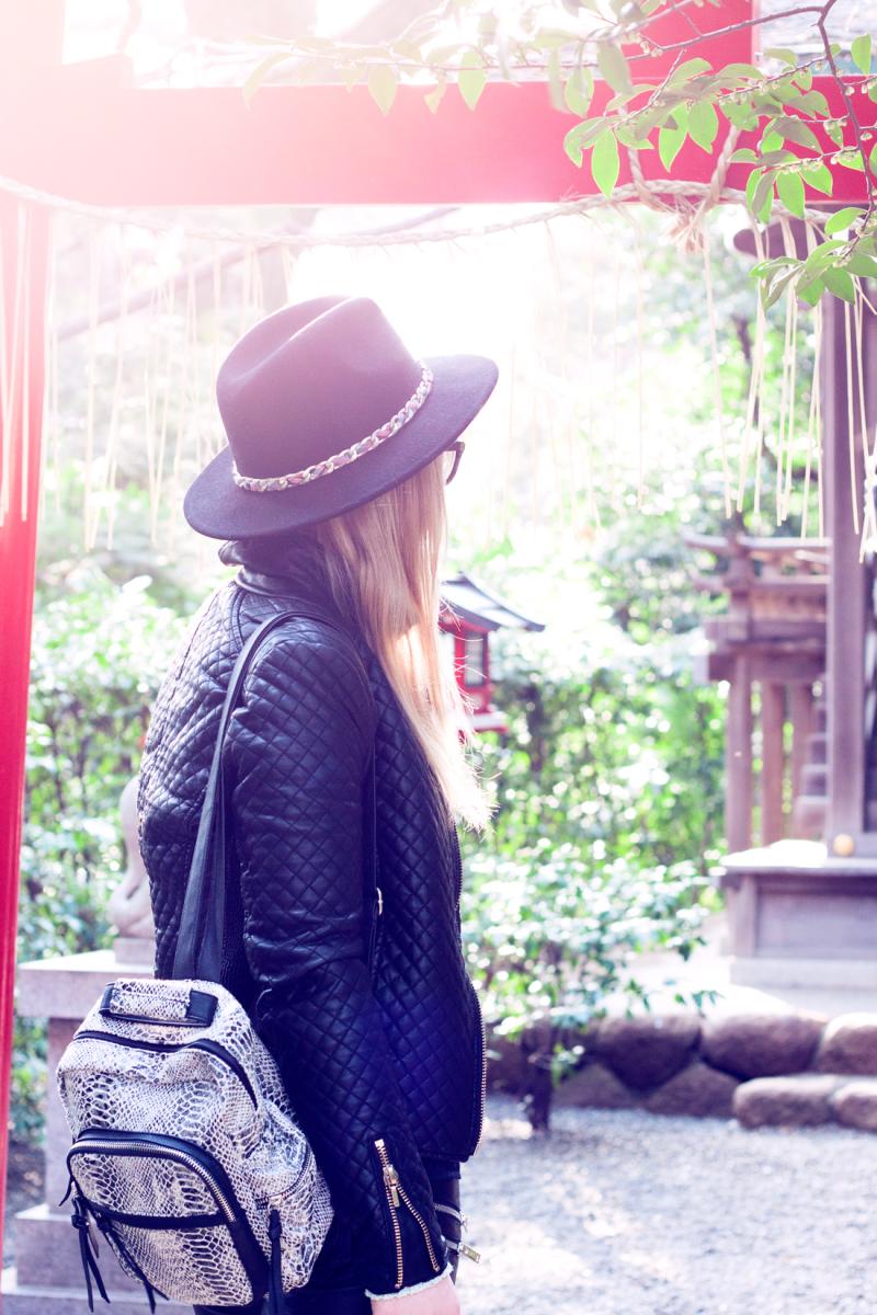 Chinzan-so Garden, Hotel Chinzanso Tokyo, japanese garden, toyko, japan, cherry blossoms, fedora, leather jacket