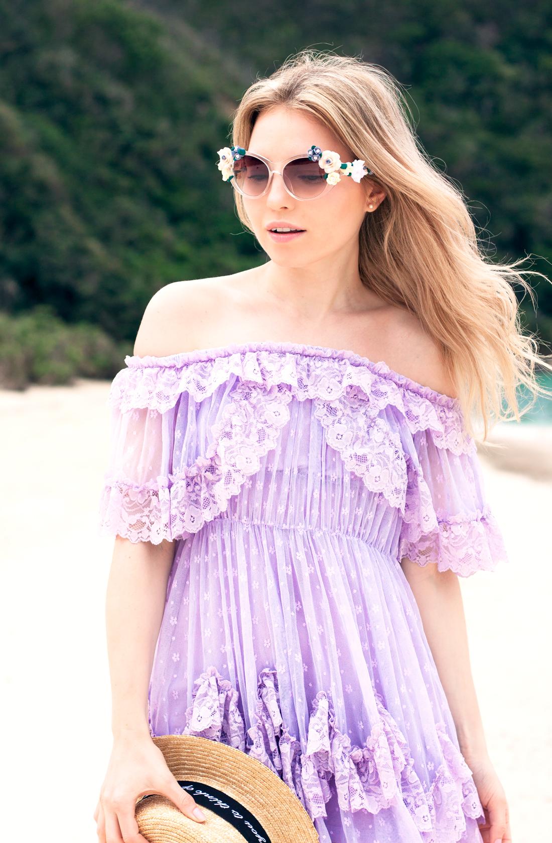 Tokashiki Island, Tokashiku beach, Japanese vacation, okinawa, okinawa vacation, japanese summer, japan beach, paradise beach, purple lace dress, boathat, flower sunglasses