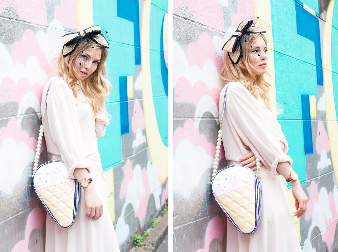 Ice cream bag, swankiss bag, tokyo fashion, japan, tokyo, vintage dress, harajuku, graffiti, rosebud hair accessories, bow and net head piece