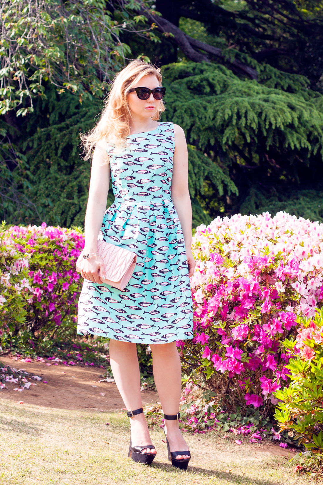 shinjuku gyoen national park, japanese garden , azaleas, fish print dress, cat sunglasses, pink quilted handbag, japanese flowers, tokyo, japan, tokyo fashion
