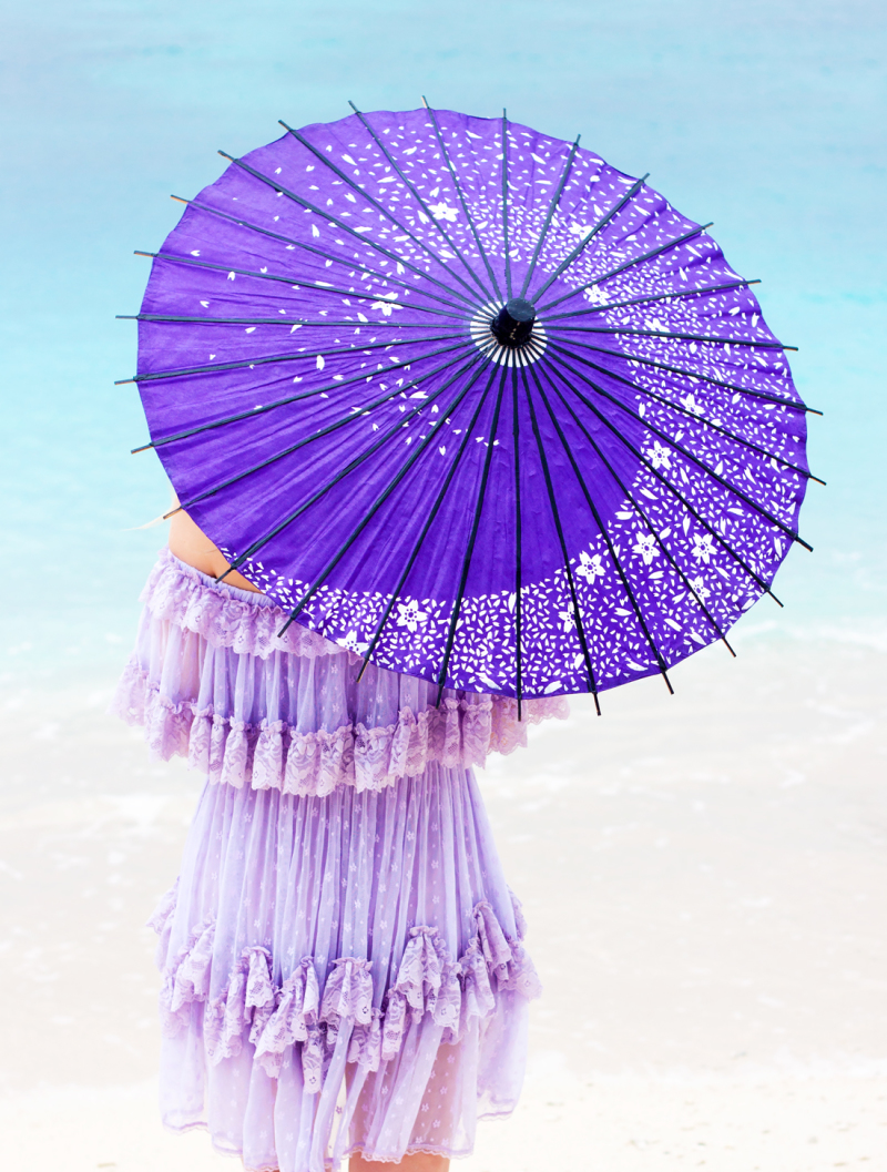 wagasa, japanese umbrella, purple umbrella, lace, okinaa, tokashiki island, tokashiku beach, japanese vacation, japan vacation, flower sunglasses
