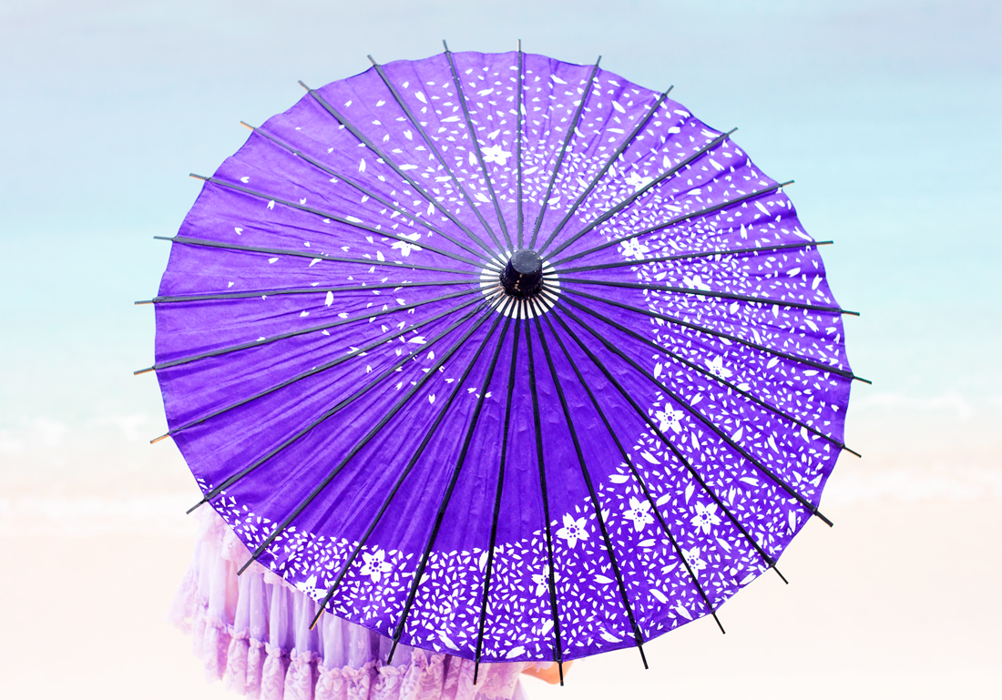wagasa, japanese umbrella, purple umbrella, lace, okinaa, tokashiki island, tokashiku beach, japanese vacation, japan vacation, flower sunglasses