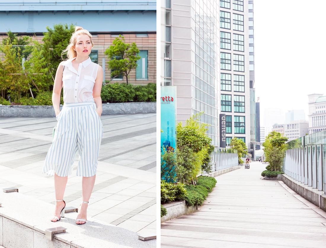 culottes, Shiodome station tokyo, tokyo, japan, tokyo sightseeing, tokyo fashion, tokyo fashion blog, fringe bag, hair top knot