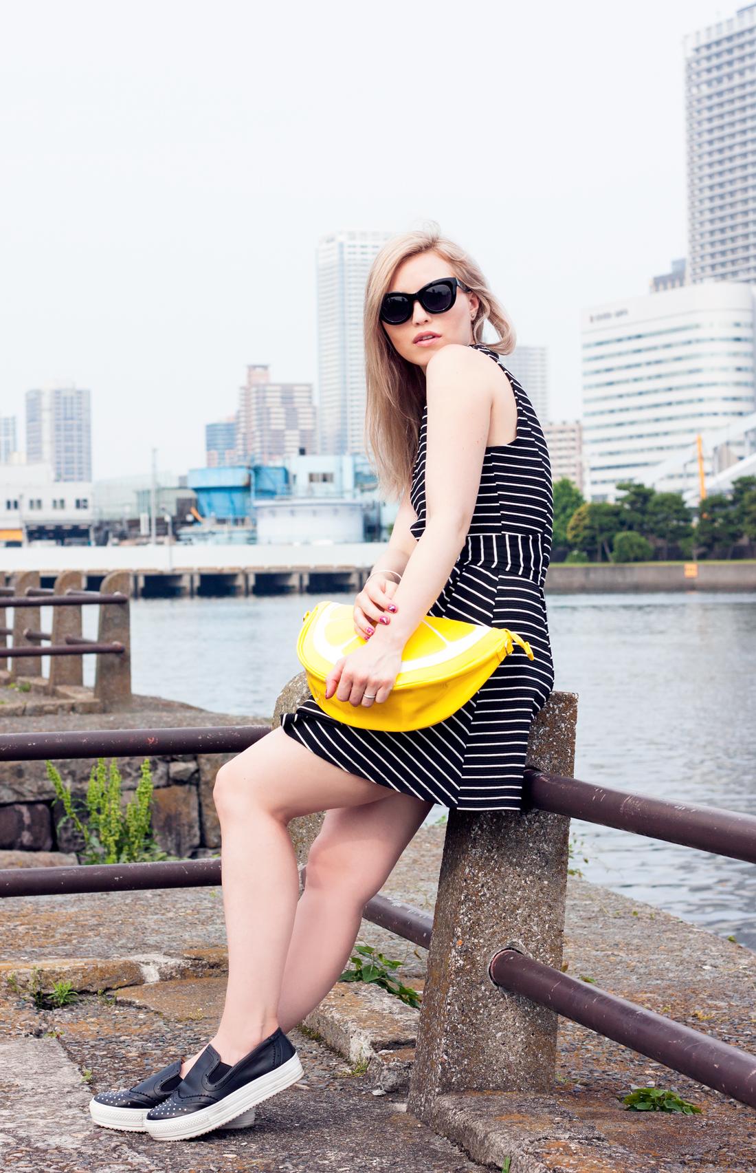 Lemon clutch, hama-rikyu garden, tokyo, japan, tokyo fashion, lemon, barbie nails, nail stickers, platform sneakers, cat eye sunglasses