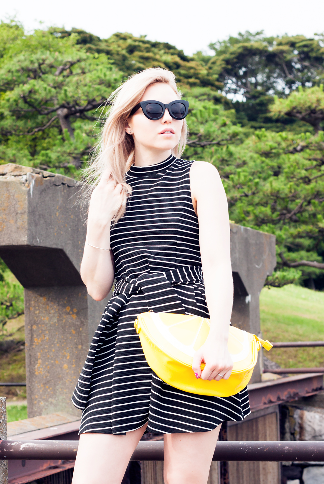 Lemon clutch, hama-rikyu garden, tokyo, japan, tokyo fashion, lemon, barbie nails, nail stickers, platform sneakers, cat eye sunglasses