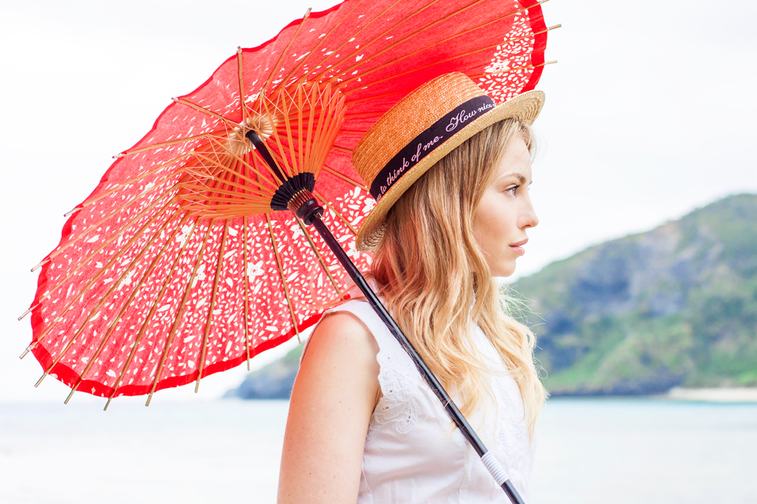 Chloe dress, chloe embroidered dress, wages umbrella, red japanese umbrella, tokashiki island, tokashiku beach, boat hat, japan, okinawa, japanese vacation, japanese tropical beach