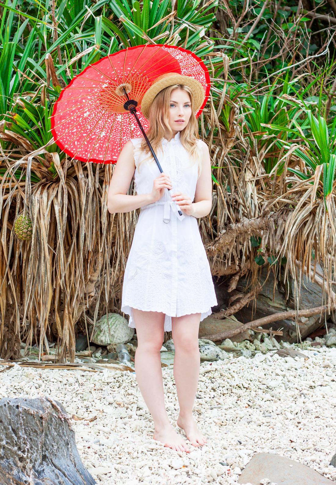 Chloe dress, chloe embroidered dress, wages umbrella, red japanese umbrella, tokashiki island, tokashiku beach, boat hat, japan, okinawa, japanese vacation, japanese tropical beach