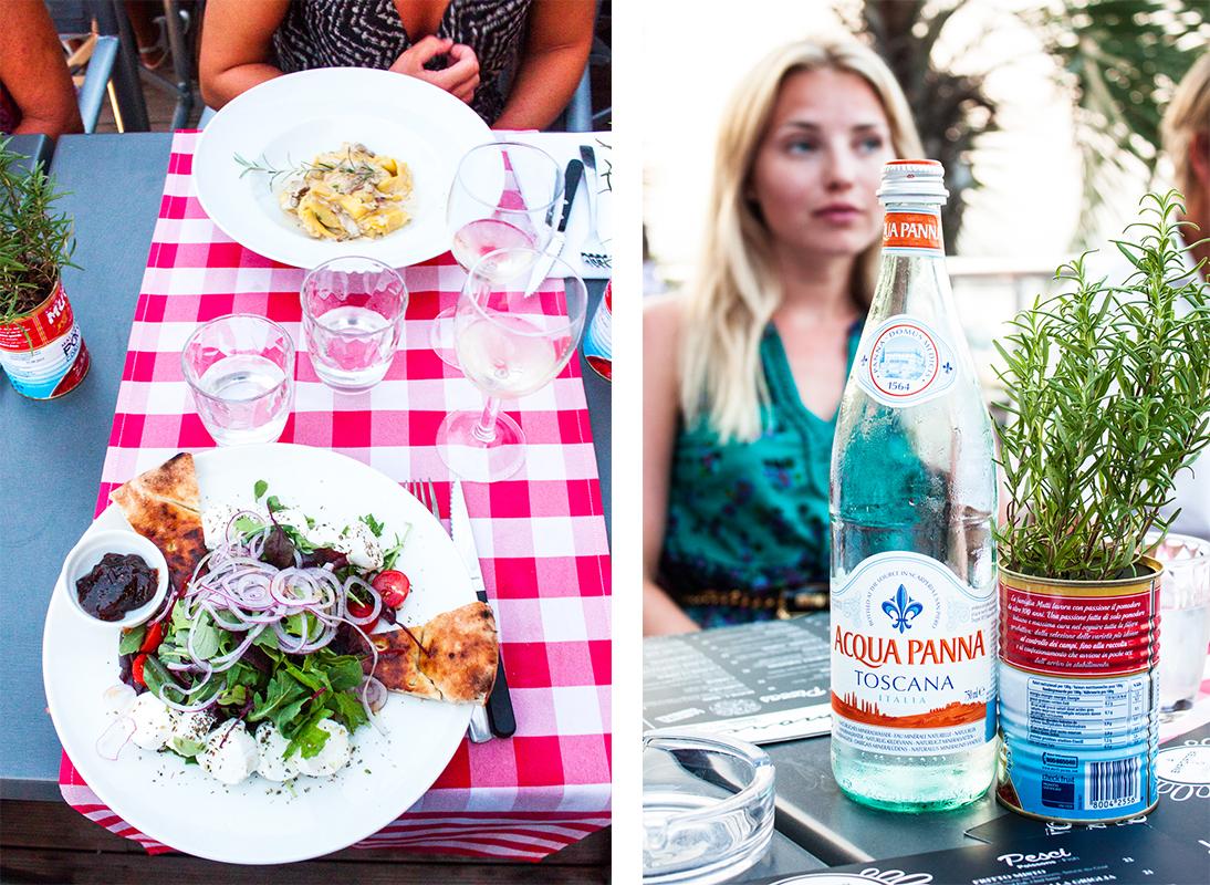 Amore restaurant Antibes, Italian restaurant, chèvre salad, italian checkered linens, robin, french riviera, rosemary, italian water, salis beach antibes