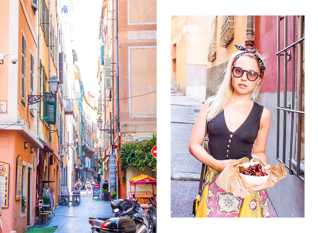 Nice, Nice old Town, French Riviera, France, Summer, Vacation, Dolce & Gabbana skirt, Dolce & Gabbana silk, Cowboy vintage bag, Cherries in Nice