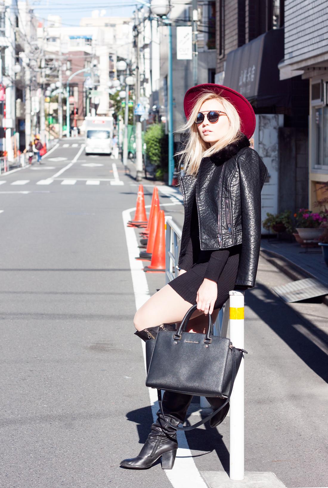 Tokyo, Japan, tokyo fashion, tokyo blog, red fedora hat, swedish girl in tokyo, leather jacket with faux fur, michael kors bag, high knee boots with zippers, kita sando, tokyo bamboo, sunny tokyo