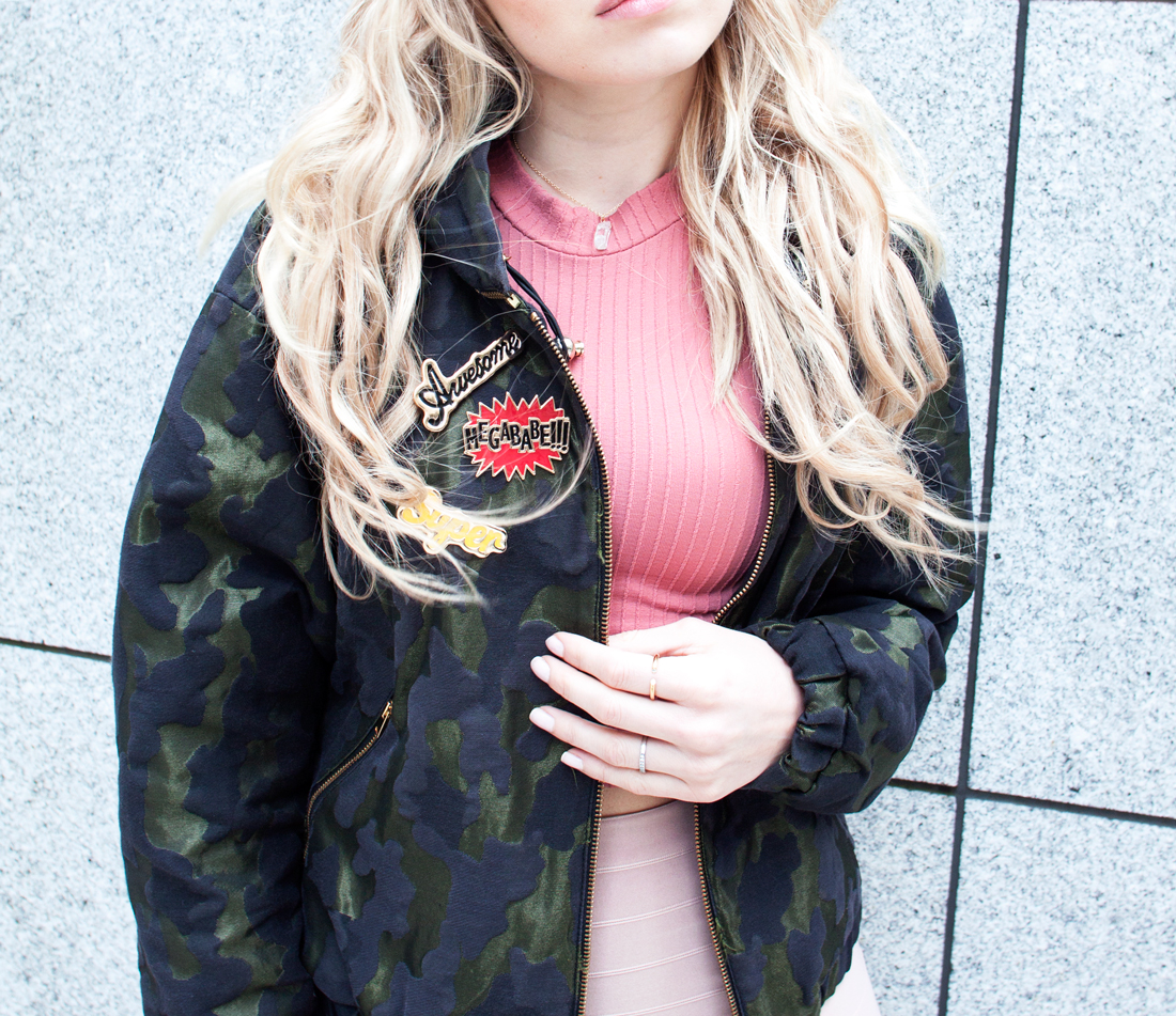 bomber jacket trend, camo bomber jacket, camouflage bomber jacket, zara bomber jacket, rapunzel of sweden clip in set extensions, nude skirt, nelly nude skirt, text pins, megababe pin, awesome pin, super pin, tokyo fashion blog, tokyo, fashion blog, cherryblossomstreet, tokyo blog