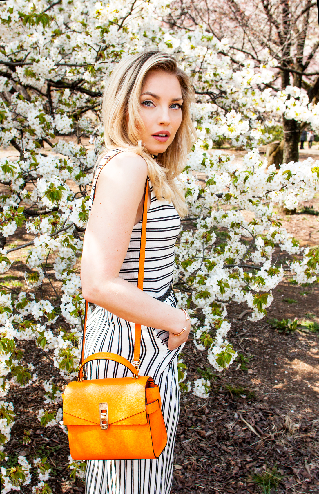 Henri Bendel spring 2016, Henri Bendel accessories, Henri Bendel international shipping, Henri Bendel bags, Henri Bendel olivia culpo bag, Henri Bendel bracelet, Henri Bendel orange bag, bershka jumpsuit, cherryblossomstreet blog, sakura season, cherry blossoms japan, cherry blossoms tokyo, cherry blossoms shinjuku park, reward style blogger
