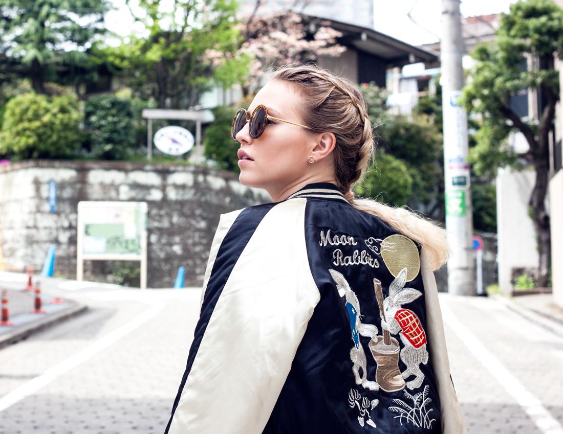 Japanese souvenir jacket, tokyo souvenir jacket, souvenir jacket 2016, souvenir jacket spring 2016, moon rabbits, moon rabbits souvenir jacket, souvenir bomber, khaki jumpsuit, henri bendel orange handbag, dutch braids, daikanyama streets, daikanyama tokyo