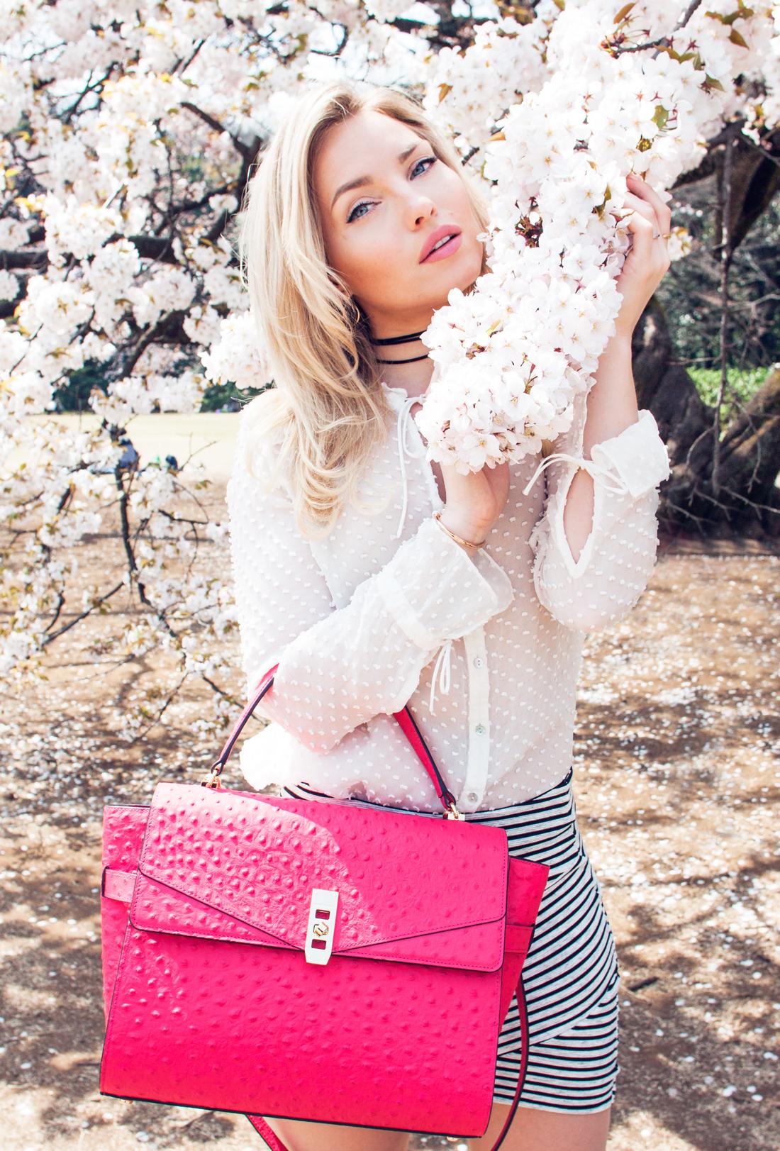henri bendel uptown satchel, henri bendel pink bag, henri bendel, henri bendel bracelet, cherry blossom season 2016, cherry blossom japan, cherry blossom tokyo, zara white blouse, cherryblossomstreet, bershka skirt, pink cherry blossom
