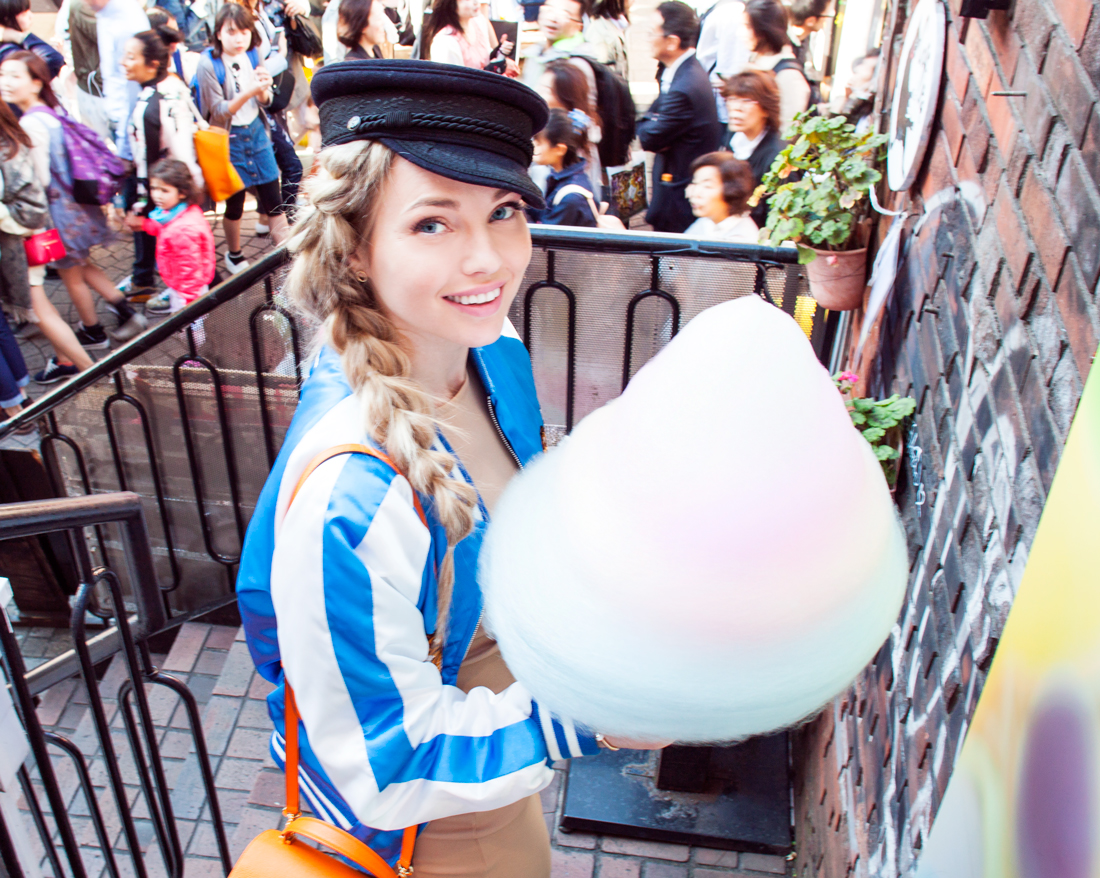 totti candy factory cotton candy, totti candy factory takeshita street, takeshita street cotton candy, cotton candy japan, cotton candy tokyo, cotton candy harajuku, pull through braid, japanese souvenir jacket, takeshita street tokyo