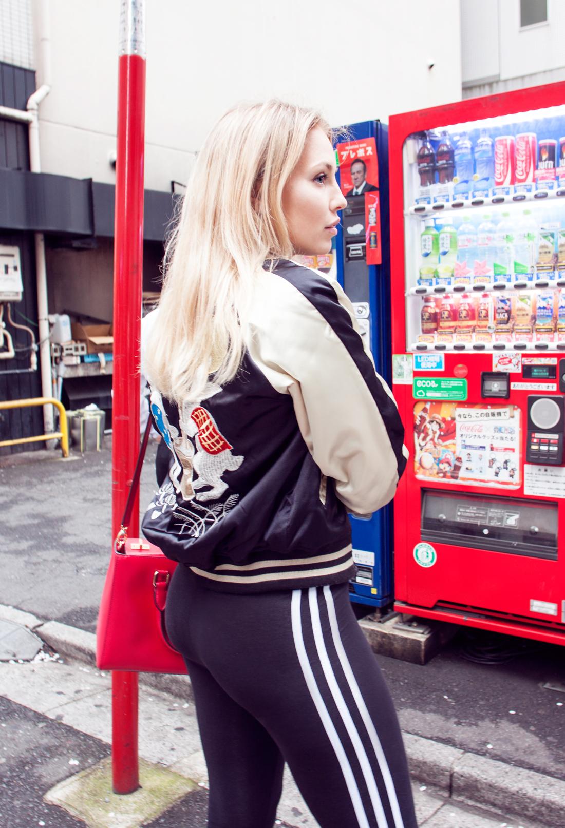 adidas tights, adidas black tights, adidas logo tights, henri bendel bag, red bag, red handbag, japanese souvenir jacket, moon rabbits, moon rabbits mocha, choker, tokyo, japan, tokyo railway, nike ari max dotted, tokyo streets, sukajan, tokyo japanese souvenir jacket